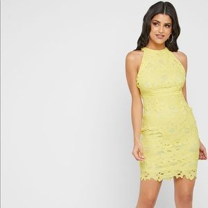 Missguided Halter Neck Lace Dress